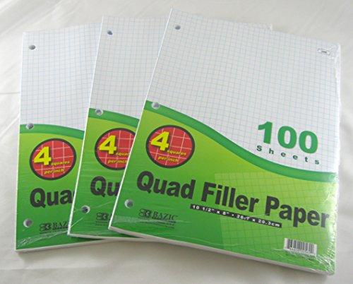 """3 Pk, Bazic 4-1"""" Quad Ruled Filler Paper 100 Ct. Per Set"""