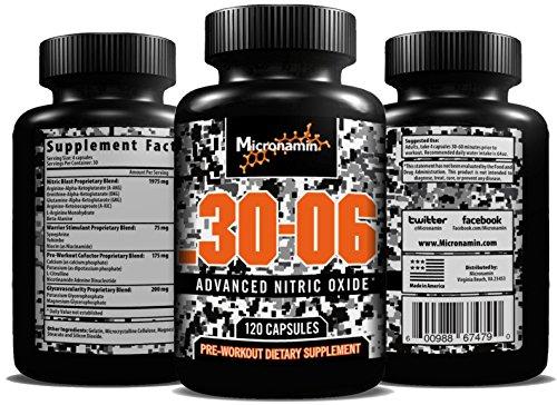 . 30-06 l'oxyde nitrique supplément - NO2 d'entraînement pré comprimé - quatre mélanges de te faire fou Muscle pompe ! Augmenter la force, l'Endurance et la mise au point ! -Réduire les temps de récupération - Premium L-Arginine - 120 Capsules