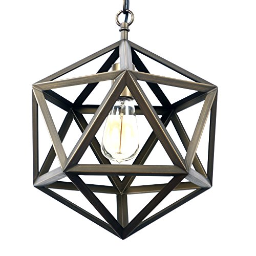 Bulb Foyer Light (Unitary Brand Antique Bronze Rustic Metal Cage Pendant Light Max 60W with 1 Bulb Socket Bronze Finish)
