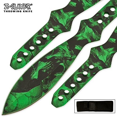 Large Steel 3 piece Green 12 Inch Skull Z-slayer Throwing - Knife Skull Throwing