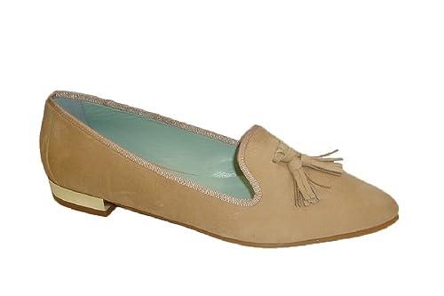 Candelitas 3253, Zapato Mujer Plano, Ante Fard, Adorno borlas. (39)