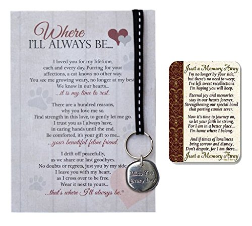 Cat Memorial Notecard with Miss You Key Chain and Just a Memory Away Card | Pet Loss Gift Set