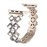 Secbolt Bling Bands for Apple Watch Band 38mm Luxury Stainless Steel Metal Bracelet Replacement Wristband Sport Strap for Apple Watch Nike+, Series 3, Series 2, Series 1, Sport, Edition, Gold