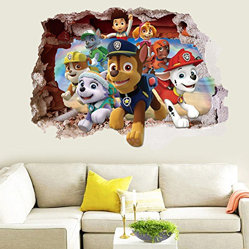 3D Paw Patrol Boys Girls Kids Room Wall Decal Stickers