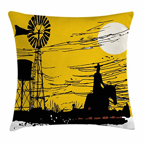 Windmill Throw Pillow Cushion Cover by Ambesonne, Australian Outback Inspired Artwork Cowboy on Horse at Sunset, Decorative Square Accent Pillow Case, 26 X 26 Inches, Earth Yellow Black and (Outback Lounge)