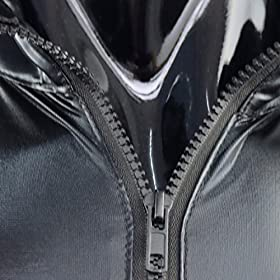 - 51u3My U5jL - FEESHOW Men's Wet Look PVC Leather Like Zipper Catsuit Jumpsuit Costumes