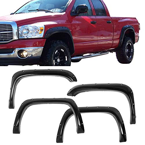 Fender Flares Fits 1994-2001 Dodge Ram | Pocket Rivet Style Black ABS Plastic Textured Front Rear Right Left Wheel Cover Protector Vent Trim by IKON MOTORSPORTS | 1995 1996 1997 1998 1999 2000