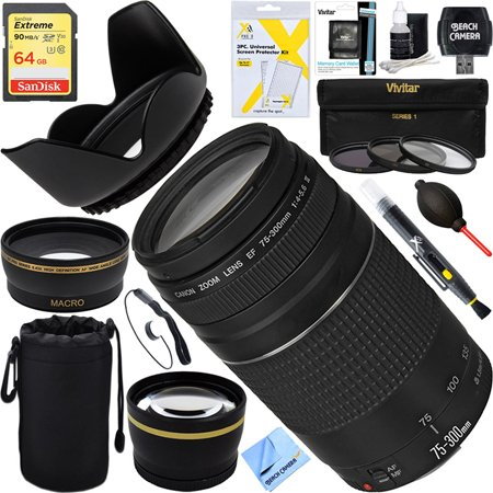 UPC 841434156174, Canon EF 75-300mm F4-5.6 III Lens + 64GB Wide-Angle & Telephoto Ultimate EOS Lens Kit