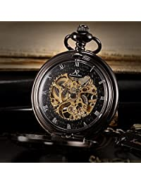 KS Men's KSP044 Steampunk Mechanical Pocket Watch Pandant Roman Number Half Hunter Antiqued Black Case