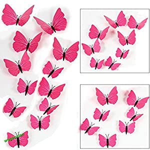 Shalleen 12pcs 3D PVC Butterflies DIY Butterfly Art Decal Home Decor Wall Mural Stickers (Rose Strip)