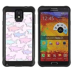 Suave TPU GEL Carcasa Funda Silicona Blando Estuche Caso de protección (para) Samsung Note 3 / CECELL Phone case / / shark baby drawing purple pink blue /