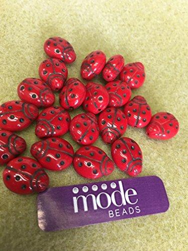 Czech Ladybug - Red Lady, Bug Glass beads 14 mm 50 pcs