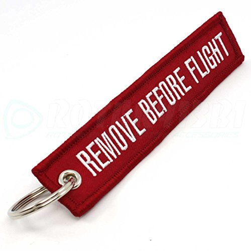 Flight Tags (Remove Before Flight DARK RED Key Chain Aviation ATV Motorcycle Pilot Crew Tag)