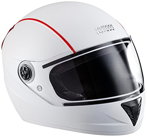 Studds Professional Full Face Helmet (White and Red , M)