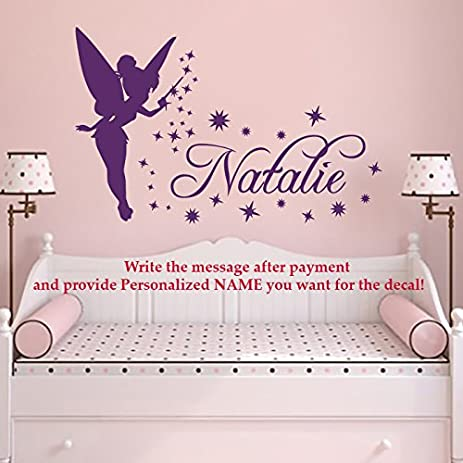 Name WALL DECAL Tinkerbell Vinyl Decals Sticker Magic Little Princess Girl Name  Wall Decor For Girls