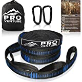 Pro Hammock Tree Straps with CARABINERS - 11 Feet, Adjustable 44 Loops, 400LB Rated (1200LB Tested), Easy Set up, Heavy Duty But Lightweight.