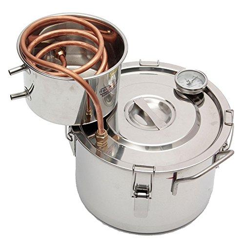 Microbrewery Kit (2GAL/8L Copper Ethanol Water Alcohol Distiller Moonshine Still Stainless Steel Distillation)