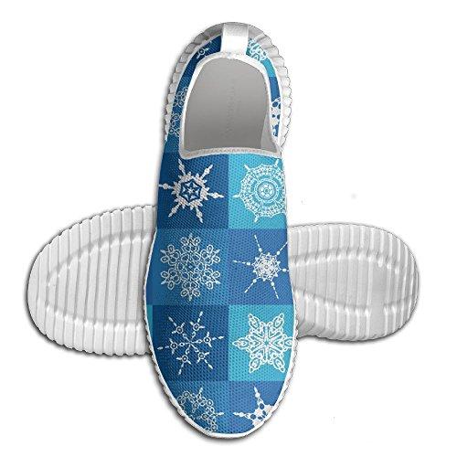 Oeuf Oeuf Géométrique Carré Blanc Flocon De Neige Femmes Mocassins Hommes Chaussures De Course Respirant Maille En Plein Air Sport Chaussures De Marche Blanc