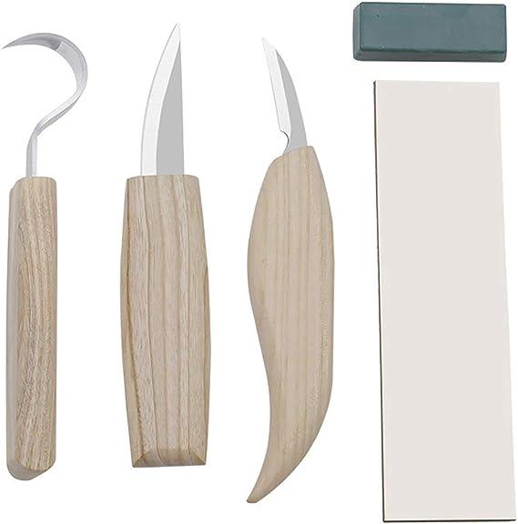 Cuchillo de Talla de Madera de Haya de Acero Inoxidable Cuchillo de Talla de Madera Cuchillo de Corte de Madera Cuchillo Raspador Cuchara Cuchara Juego de Talla Herramientas de Carpinter/ía