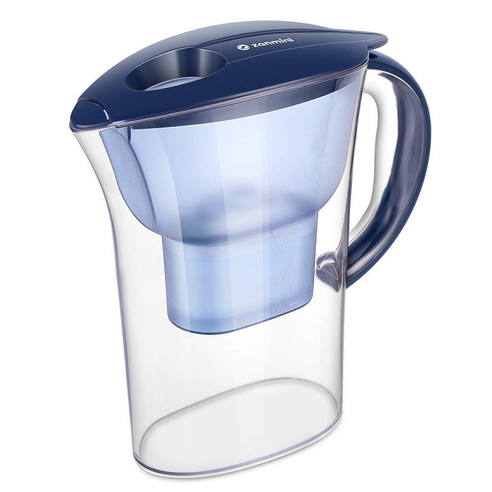 zanmini Filtered Water Jug, 2.5L 10 Cup Everyday Water Pitcher with Filter, Alkaline Water Pitcher with 4 Stage Filteration System (Navy Blue)
