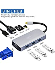 Enisina USB C Hub, 8 in 1 with 4K HDMI Adapter, VGA, Power Delivery Port, SD/TF Card Reader, Compatible with MacBook Pro 2016~2018 ChromeBook Pixel, and More Type C Devices