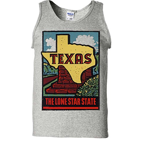 Lone Dolphin (Dolphin Shirt Co Vintage State Sticker Texas Tank Top - Ash Large)