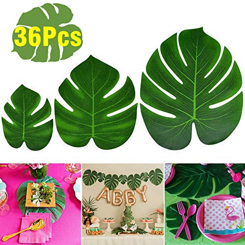 KUUQA 36 Pcs Tropical Palm Leaves Party Decor Artificial Green Monstera Plant Leaf Leaves for Hawaiian Luau Aloha Party Jungle Theme BBQ Birthday Weedding Party Table Decorations Supplies 3 Sizes -