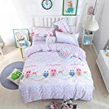 Auvoau Cartoon Bedding Sets Kids Bedding Girls Children's Duvet Cover Set Cotton Children's bedding set Bedding Twin Full Queen King 4PC (Queen, 2)