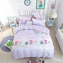4pcs Children Beddingset Duvet Cover Set Without Comforter Duvet Cover Bedsheet Pillowcase Twin Full Queen HM Animal Design (Full, Lover Owl)