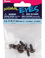 Darice Shank Back Animal Eyes, 12mm, Brown, 6-Pack