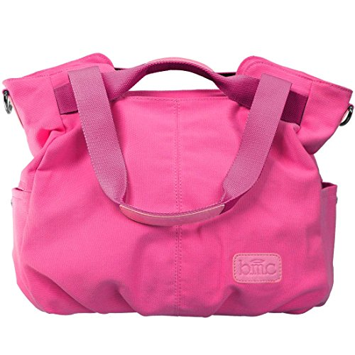 BMC Womens Fuchsia Pink Textured Canvas Double Top Handle Lightweight Shoulder Tote Travel Shopper Handbag Double Handle Tote Bag