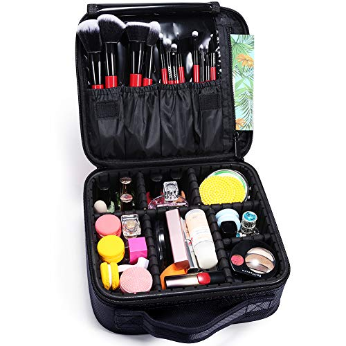Docolor Portable Travel Makeup Train Bag Makeup Cosmetic Case Organizer Storage Bag for Cosmetics Makeup Brushes Toiletry Jewelry Digital accessories (Black)
