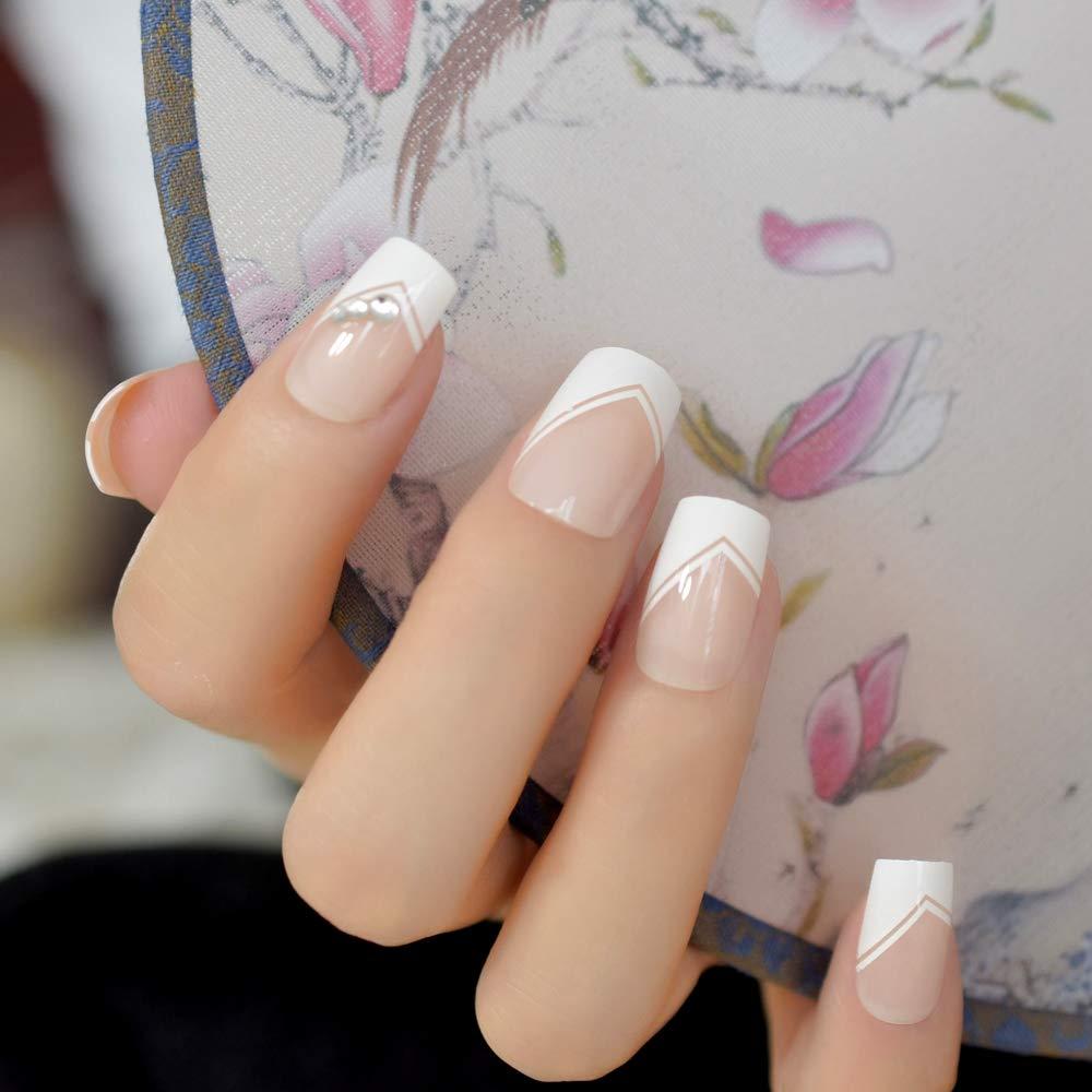 EchiQ uñas postizas de uñas postizas de color blanco nude ...
