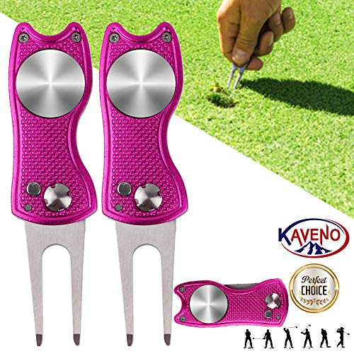 (kaveno Golf Divot Repair Tool, Foldable Magnetic Pop-up Button Stainless Steel Switchblade & Detachable Golf Ball Marker (Pink Fish 2 Sets) )