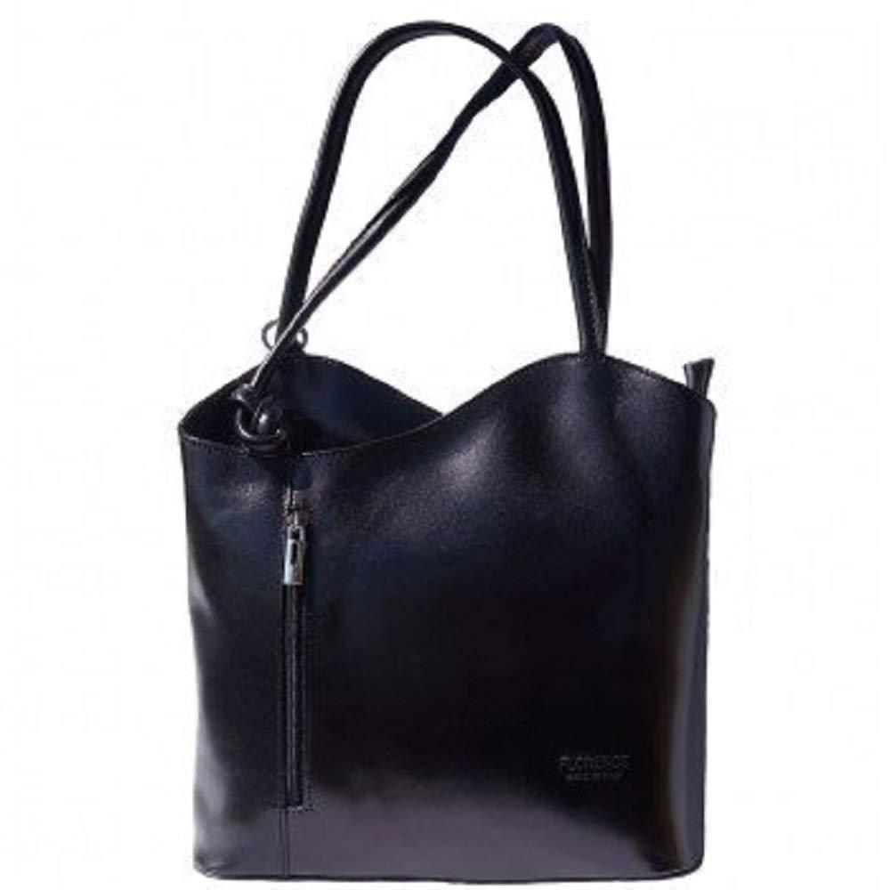 LaGaksta Easy Carry Italian Leather Convertible Backpack Shoulder Purse Medium Black