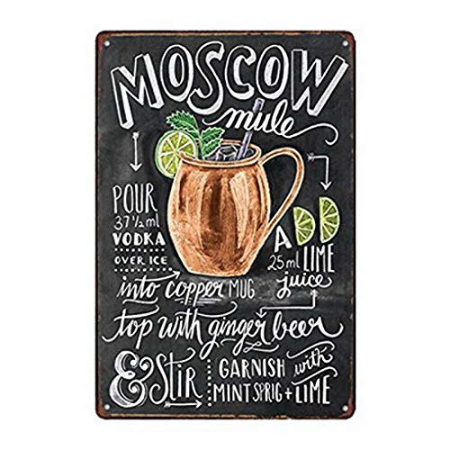 Sylty 8x12 Inch Metal Tin Sign Moscow Mule Cocktail Bar Pub Home Vintage Look Reproduction