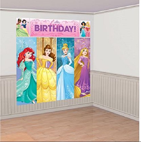 Wall Disney Decorations (Amscan Disney Princess Dream Big Birthday Party Scene Setters Wall Decorating Kit (5 Piece), Multicolor, 59