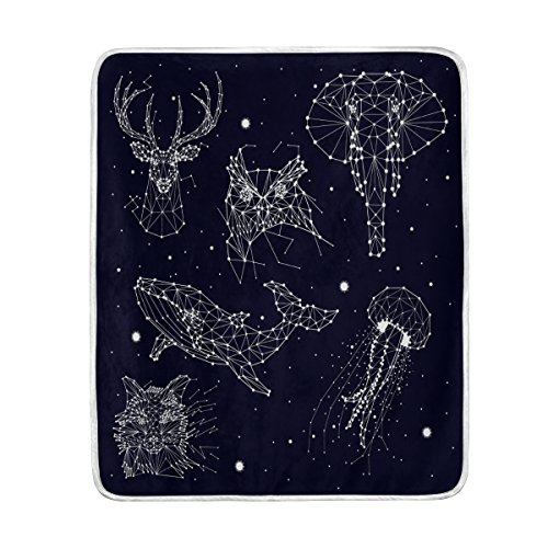 Constellation Elephant Owl Deer Whales Jellyfish Fox Star Polyester Fabric Throw Blanket for Bed 50 x 60 inch Kids Baby Girls Colorful - Painting Constellation