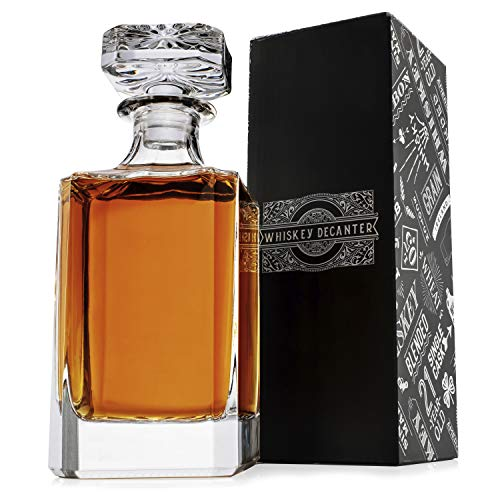 Amazing Items Whiskey Decanter with Stopper, 26 oz (750 ml) Crystal Glass Decanter for Liquor Scotch Bourbon Vodka