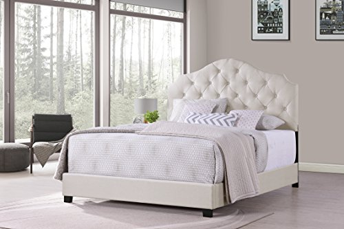 Furniture World Ariana Curved Style Button Tufted Upholstered Headboard, Twin, Cream (Footboard and Side Rails Sold (Twin Tufted Bed)