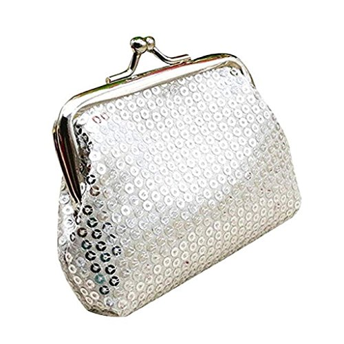 Purse Small Clearance Clutch Handbag Retro Wallet Siliver 2018 Wallet Sequin Wallet Womens Ladies Noopvan Coin zwZXqq
