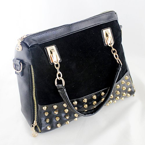 old Color Alloy Spike Rhinestone Decoration Messenger Handbags Black Bags 2014 Newest Hotsale ()