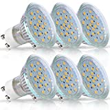 LOHAS GU10 LED Bulbs, 50 Watt Halogen Bulb Equivalent (3.5 Watt), Daylight White, 6000k, 380LM, 120 Degree Beam Angle, LED Spotlight Bulb, GU10 LED, LED Track Lighting Fixture, Not Dimmable, 6 Pack