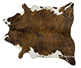 Cheap ecowhides Brindle White Belly Brazilian Cowhide Area Rug, Cowskin Leather Hide for Home Living Room (XL) 7 x 6 ft