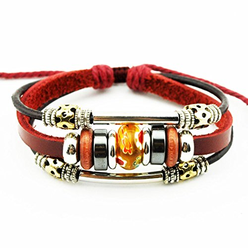 Homemade Tin Man Costume Women (Real Spark Tribal Flower Beads Strand Metal Spliced Leather Wrap Bracelet, Orange)