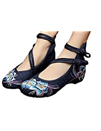 TIANRUI CROWN Women and ladies' The spring flower Embroidery Casual Mary Jane Shoes Chinese cloth shoe