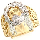 Jewelry Liquidation 10k Two Tone Gold White CZ Jesus Religious Mens Ring