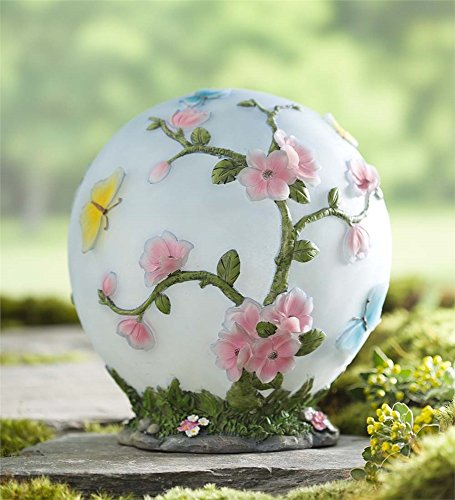 Plow & Hearth 54729 Glowing Cherry Blossom Outdoor Solar 3D Flower Design LED Garden Globe Light, 9