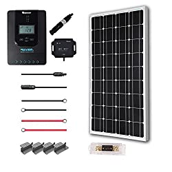 Renogy 100 Watt 12 Volt Off Grid Solar Premium Kit with Monocrystalline Solar Panel and 20A MPPT Rover Controller