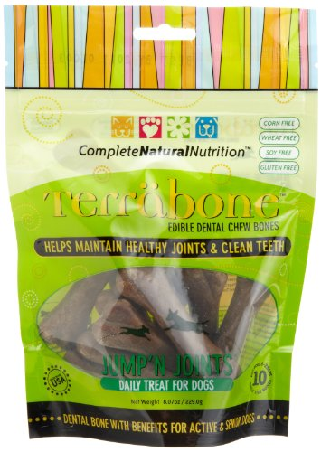 Complete Natural Nutrition Terrabone Jump' n Joints Edible Dental Chew Daily Treat for Dogs, 10-Count Small Size Bones (Pack of 2), My Pet Supplies